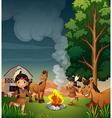 A farm with Indian girls vector image