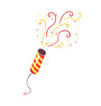 exploding party popper with serpantin celebration vector image