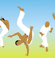 five men are engaged capoeira on sand vector image