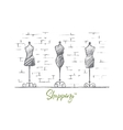 Hand drawn female body mannequins in fashion shop vector image