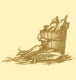 harvest of corn cobs in an old wooden bucket vector image