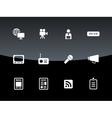 Media icons on black background vector image
