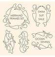 Line art mermaids logo set on beige background vector image