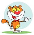 Animal Tiger Waving A Greeting vector image