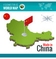 isometric map and flag of the china peoples vector image