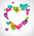 Abstract frame with multicolored hearts on vector image