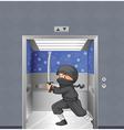 A ninja inside the elevator vector image