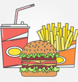 Fast food icon icon colafries and burger For web vector image