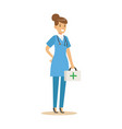 female doctor character in a blue uniform standing vector image