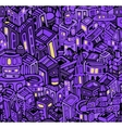 Night city in violet seamless pattern vector image
