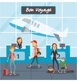 People fly on vacation travelers in the airport vector image