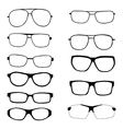 Set of different eyeglasses and sunglasses vector image