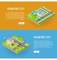 Set of Isometric City Web Banners vector image