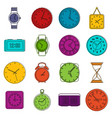 time and clock icons doodle set vector image