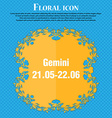 Gemini icon Floral flat design on a blue abstract vector image