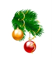 baubles and fir branch vector image vector image