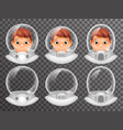 Bald scientist avatar retro realistic helmet 3d vector image