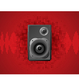 speaker on dot pattern red background vector image vector image