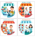Car mobile pharmacist and computer store vector image