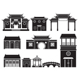 China Building Mono Objects Set vector image