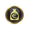 euro in bag icon button gold copy vector image