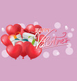 gift red heart balloon background vector image
