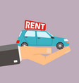 hands hold car for rent buying or rent car vector image