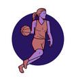 woman basketball player dribbling mono line art vector image