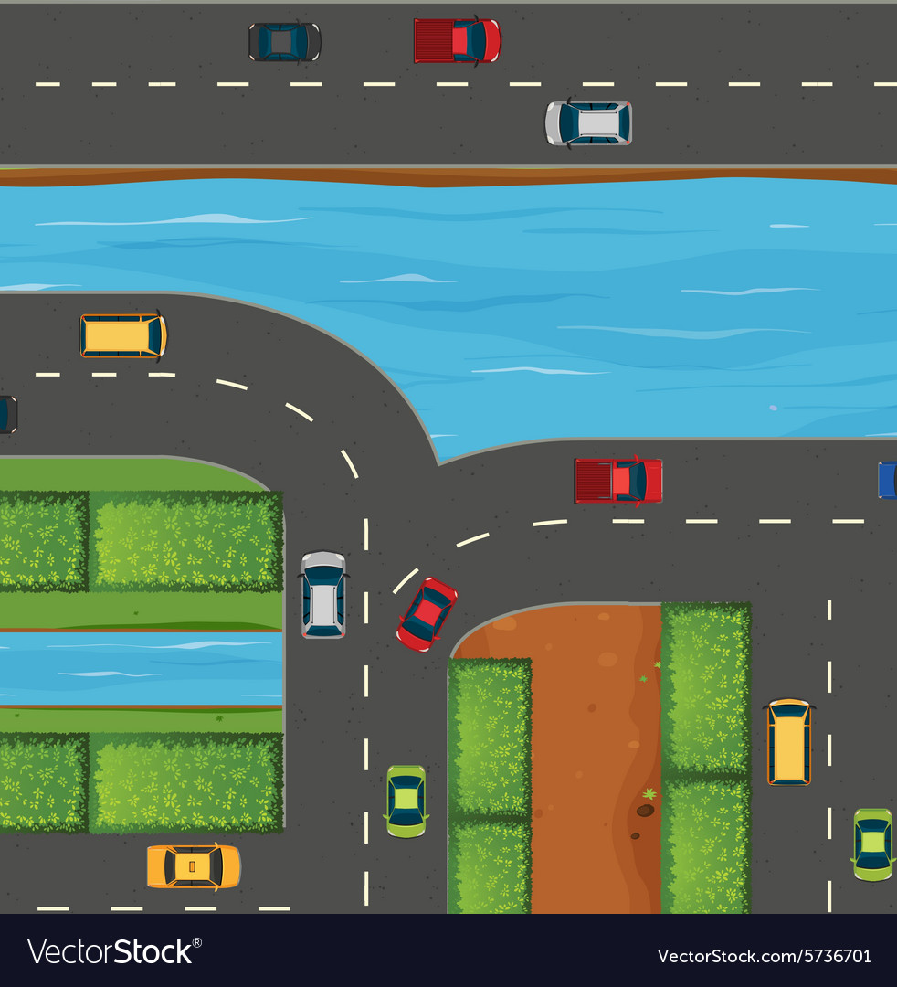 Cars on road along the river vector
