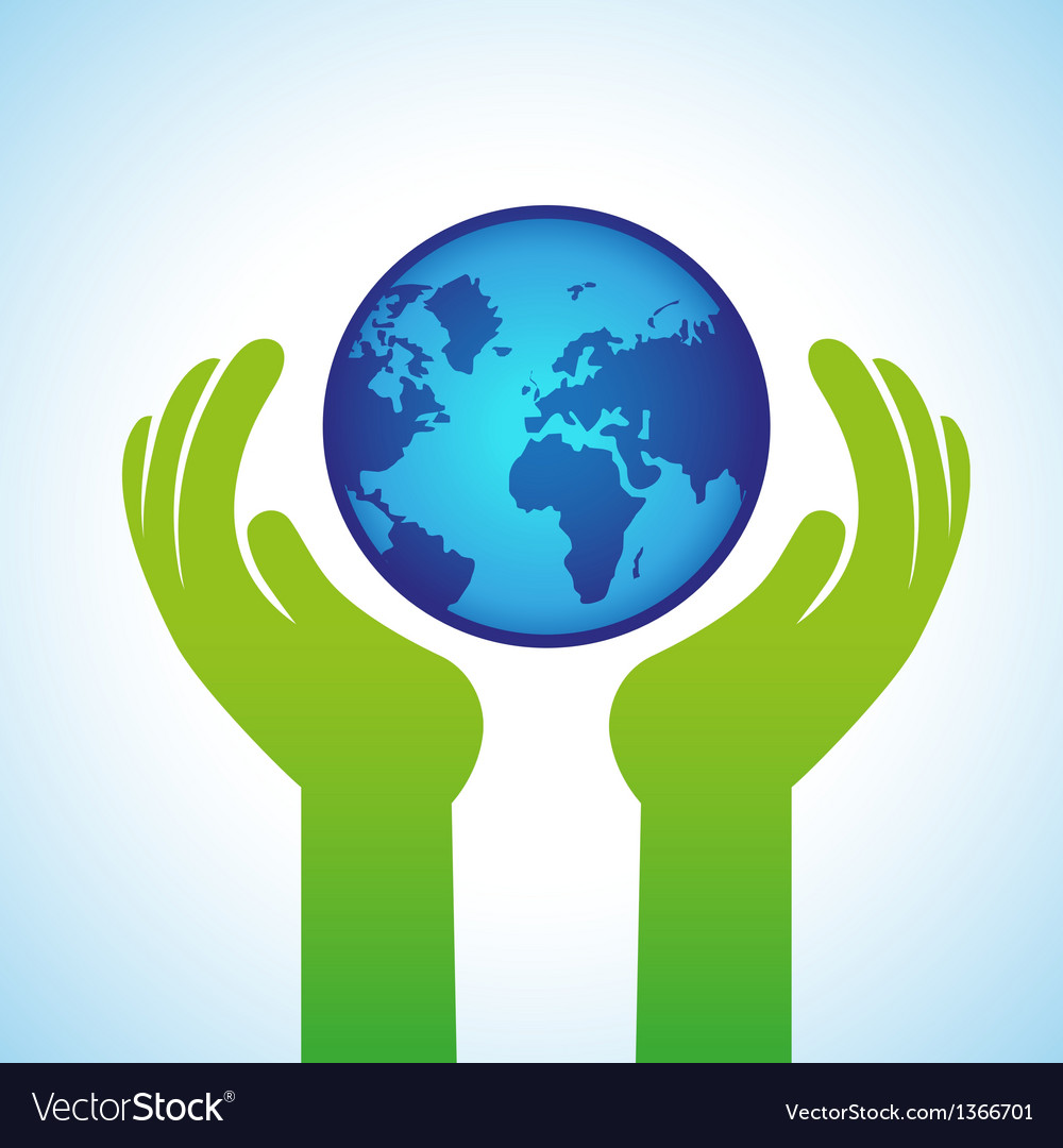 Ecology concept  hands holding globe icon vector