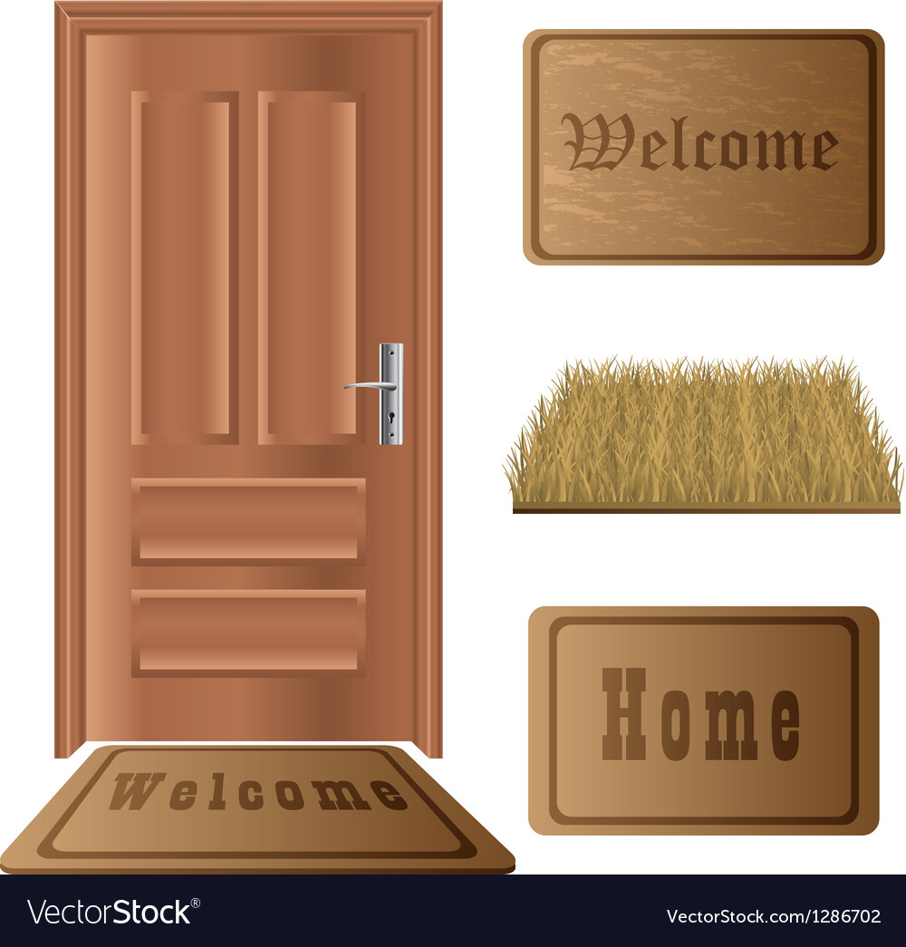 Door mat set vector