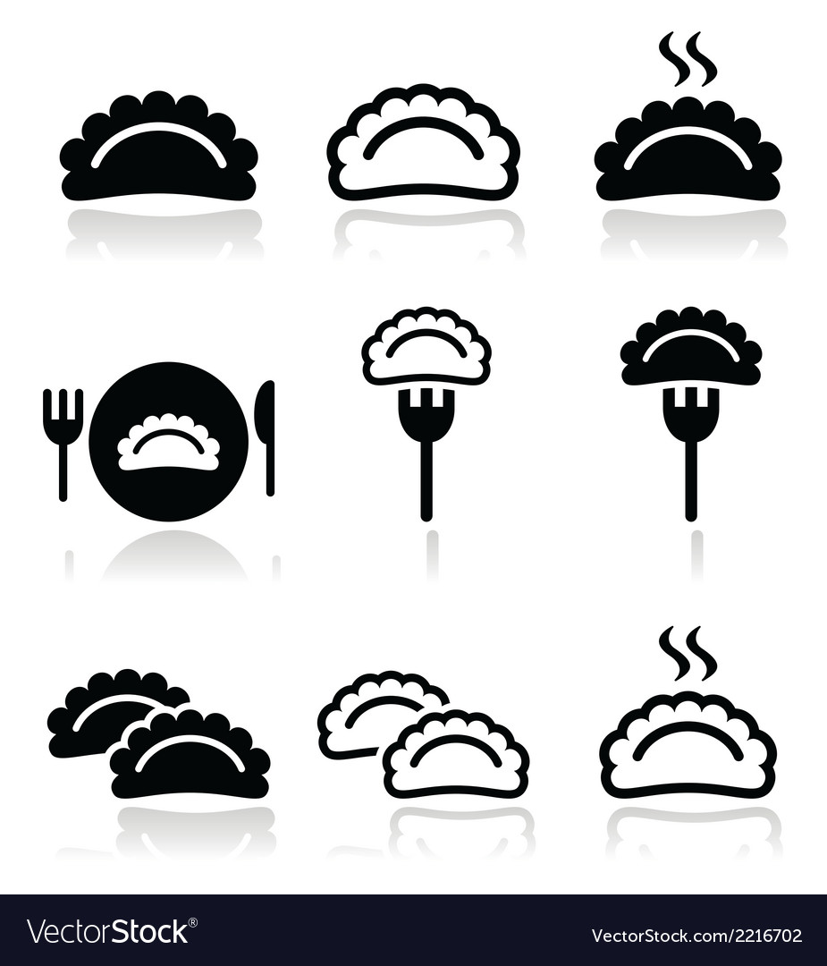 Dumplings food icons set vector