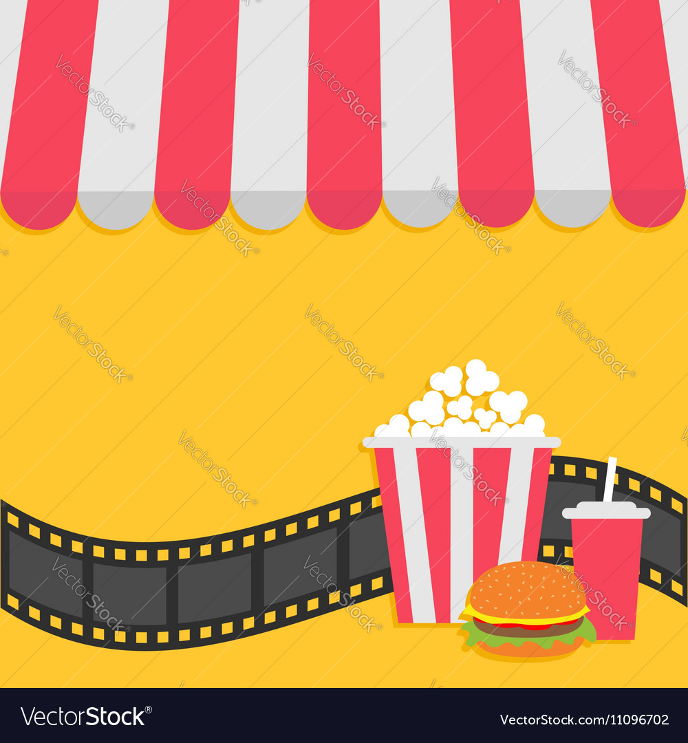 Popcorn hamburger and soda with straw film strip vector