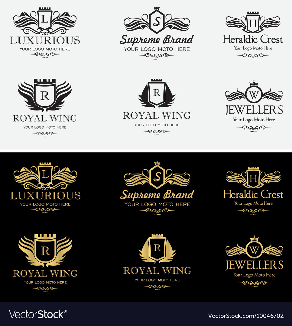 Royal luxurious crest logos set 2 vector
