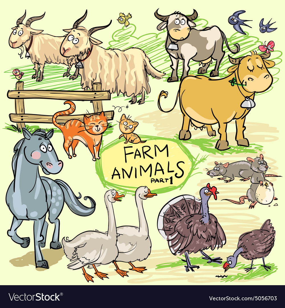 Farm animals hand drawn collection part 1 vector