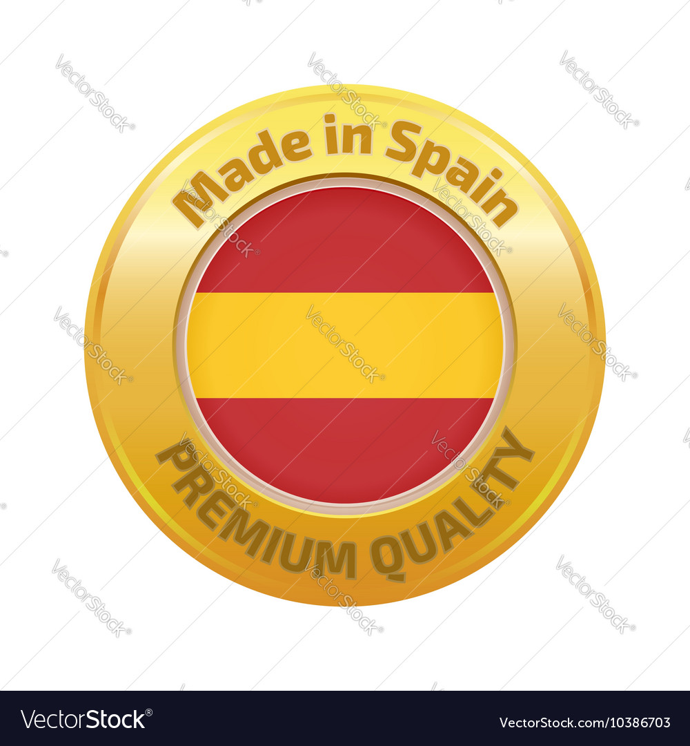 Made in spain badge gold vector