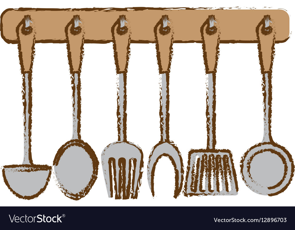 Silver rack utensils kitchen icon vector