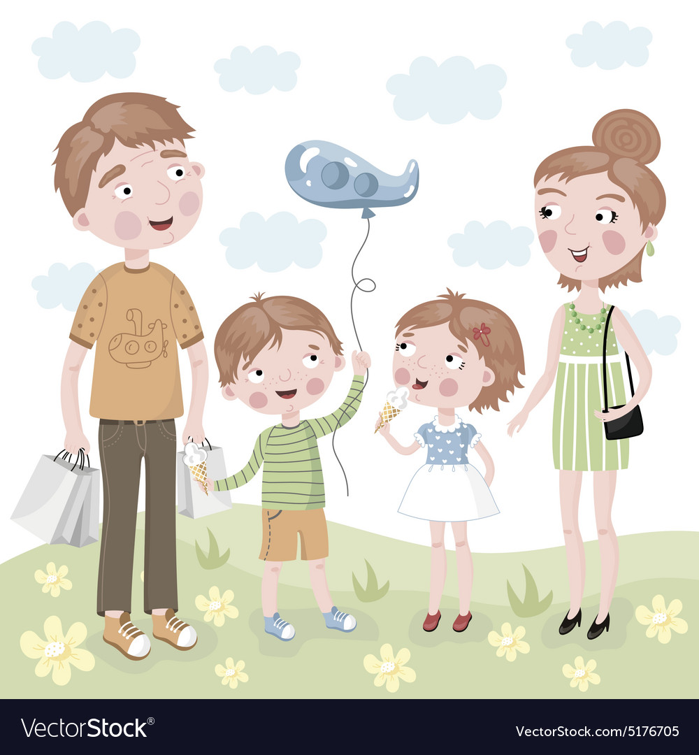 Family shopping in cartoon style vector