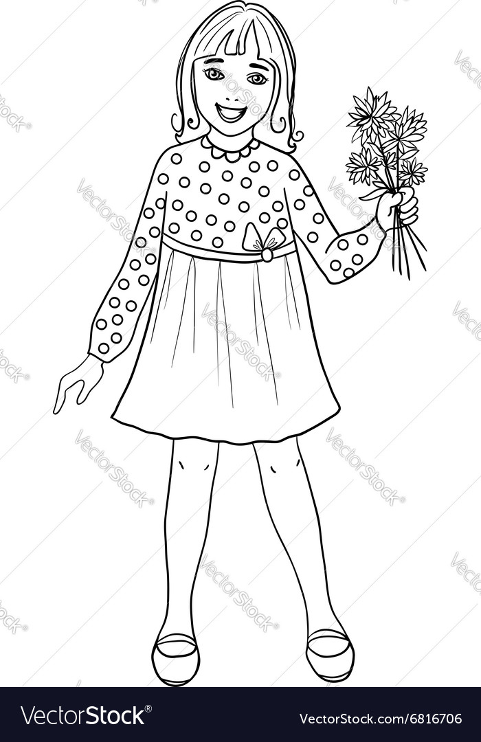 Teenager cartoon girl with flowers in hand vector