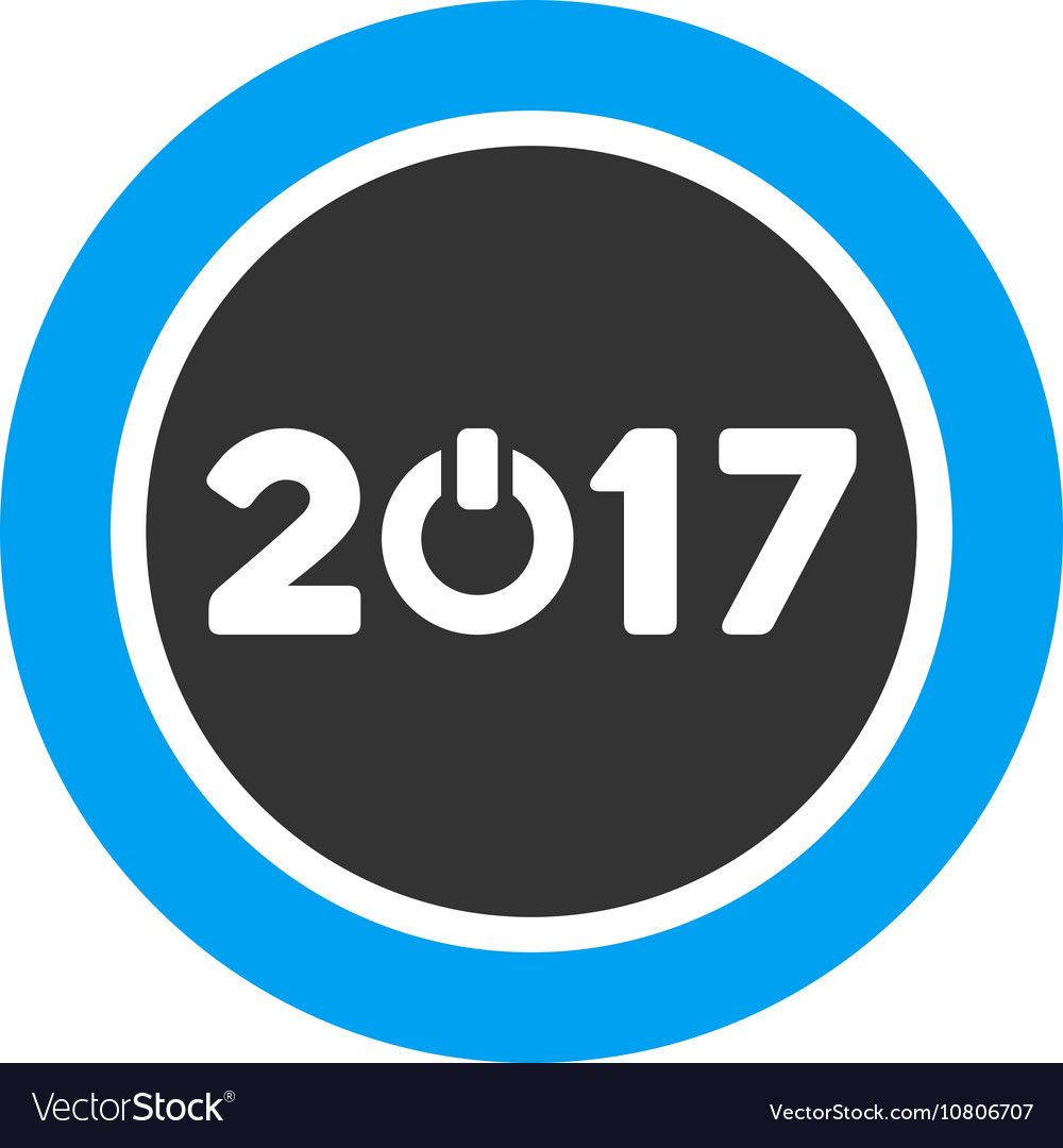Start 2017 year round button flat icon vector