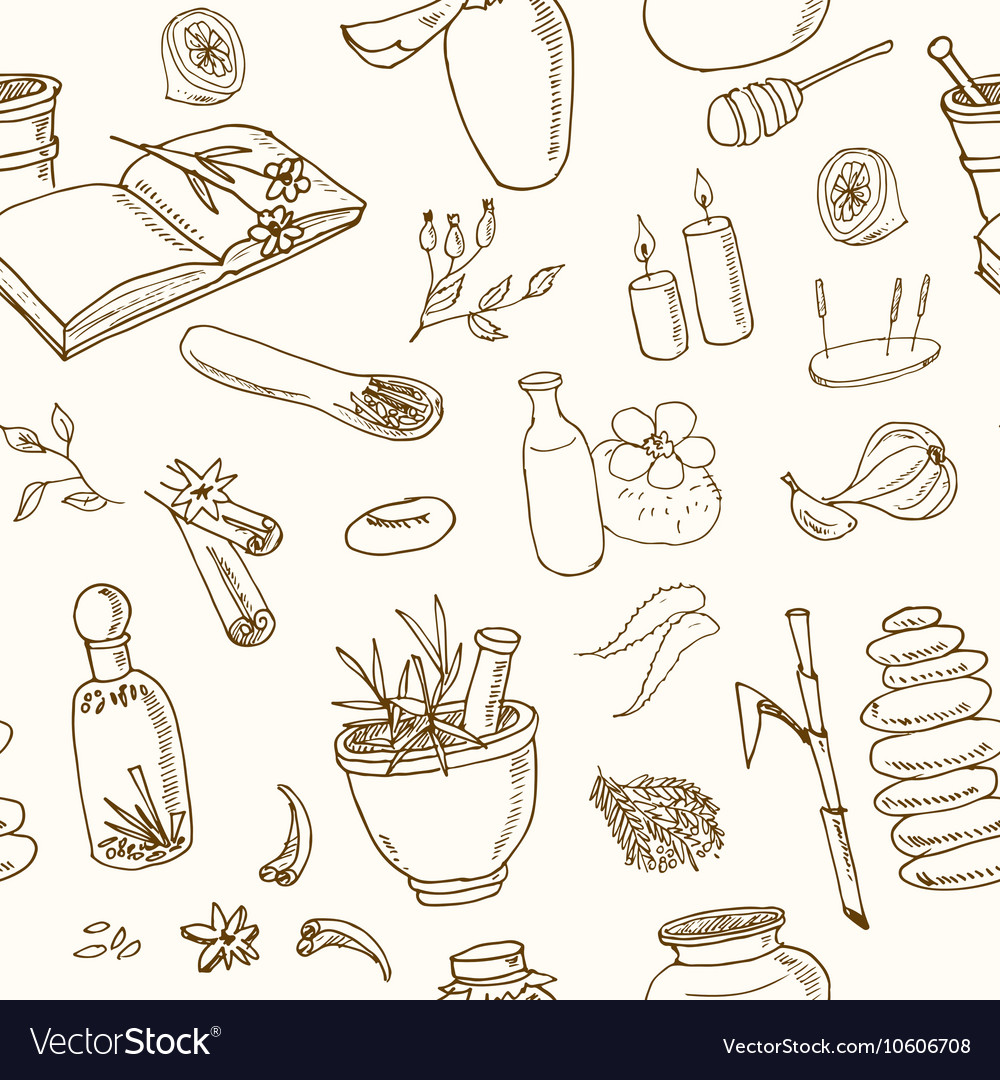 Doodle seamless pattern of ayurveda elements vector