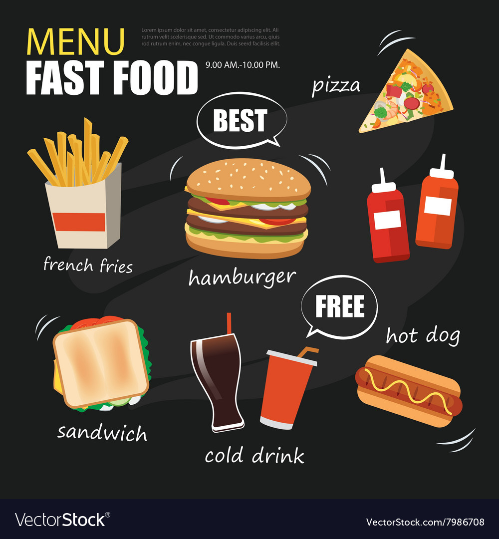 Fast food menu on chalkboard background vector