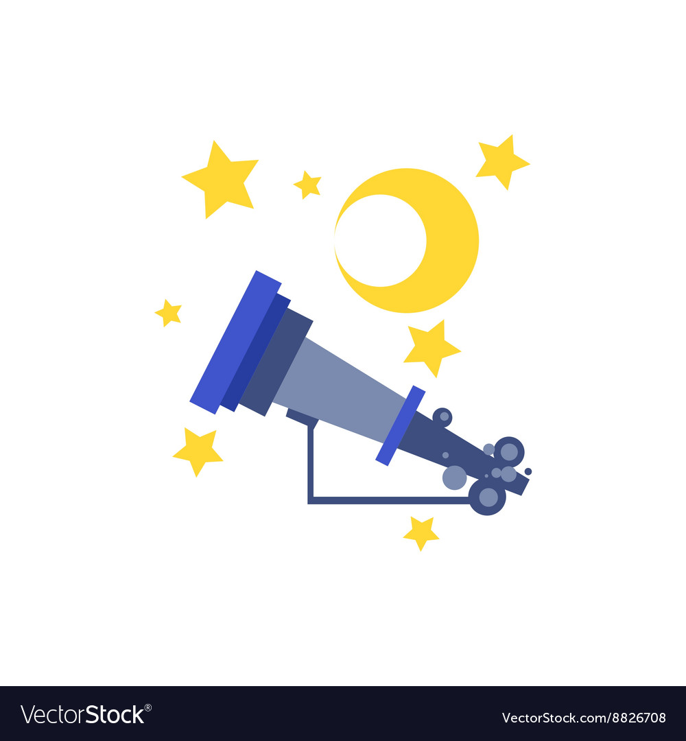 Telescope stars and moon vector