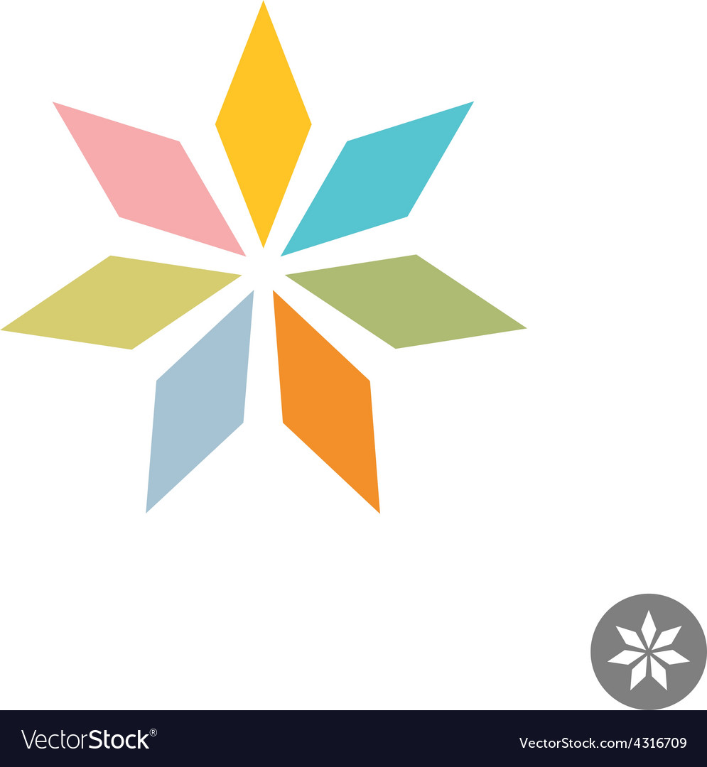 Abstract geometric seven rhombus leaf flower logo vector