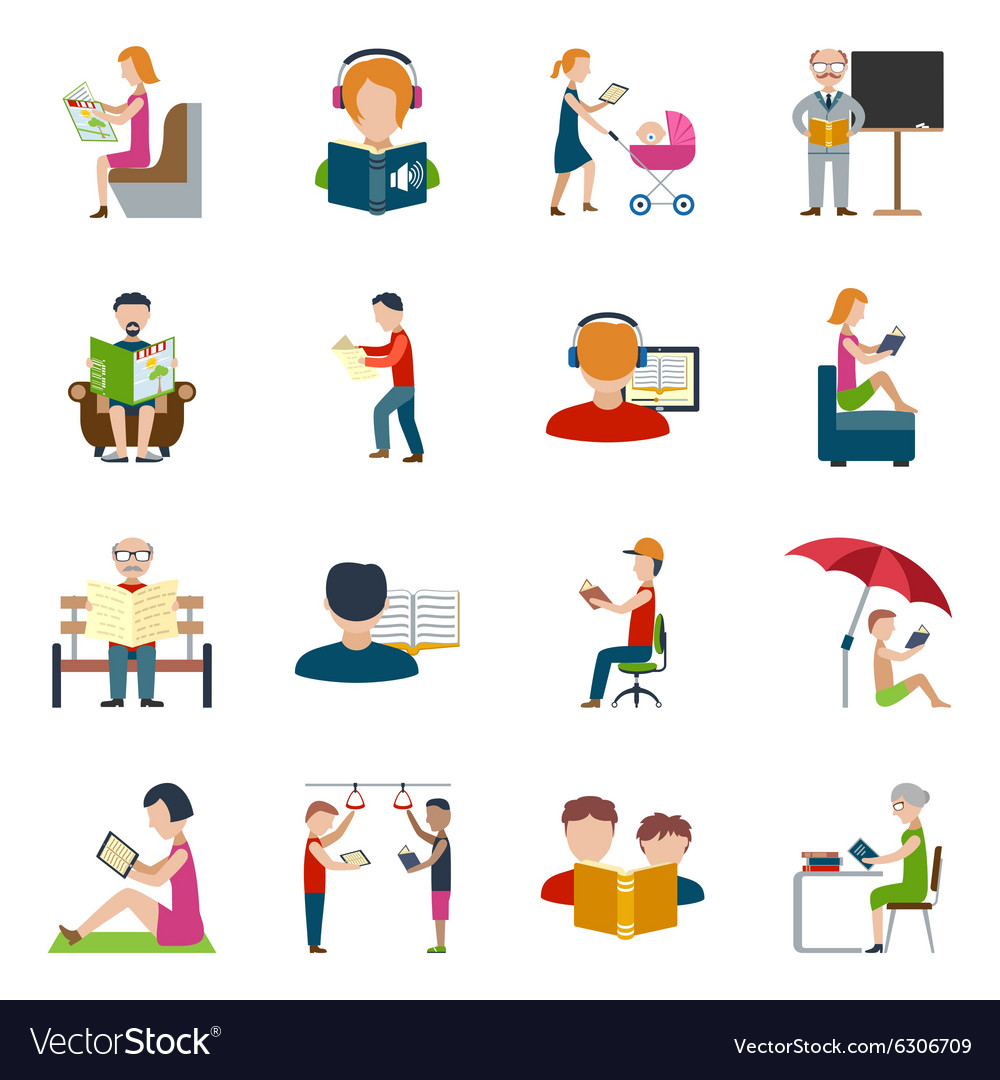People reading icons set vector