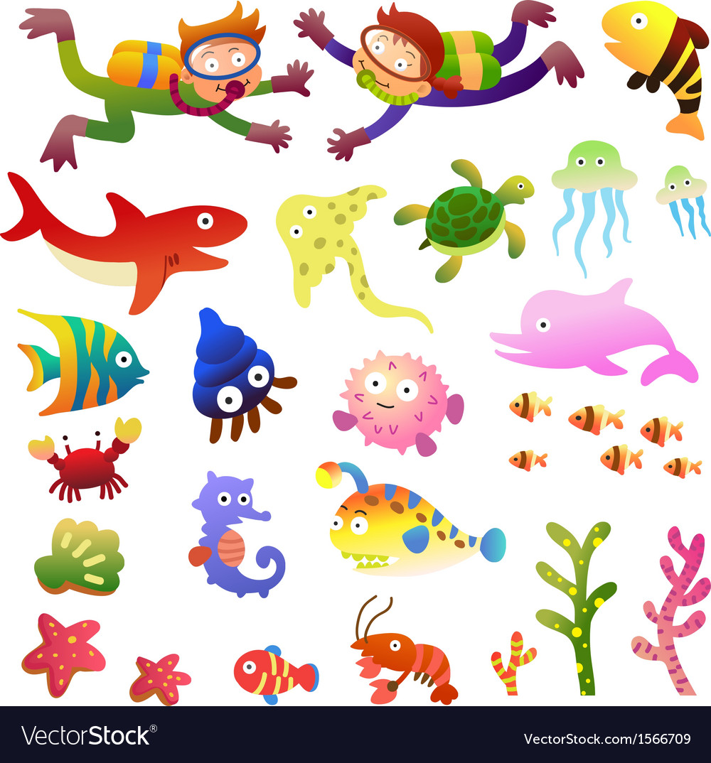 Sea fishes and animals collection vector