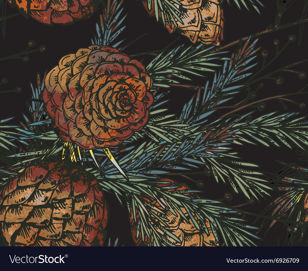 Seamless pattern with hand drawn winter plants vector