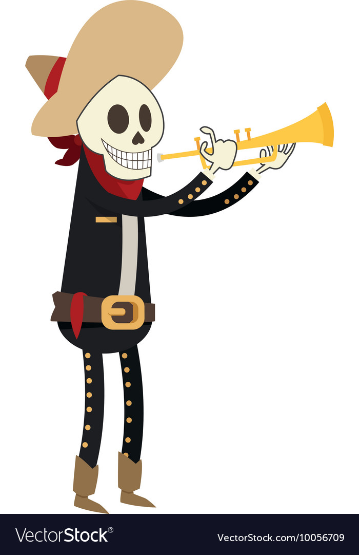 Skeleton mariachi icon vector