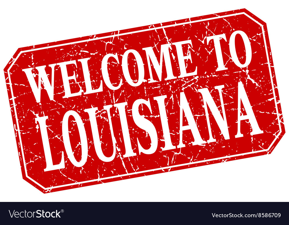 Welcome to louisiana red square grunge stamp vector