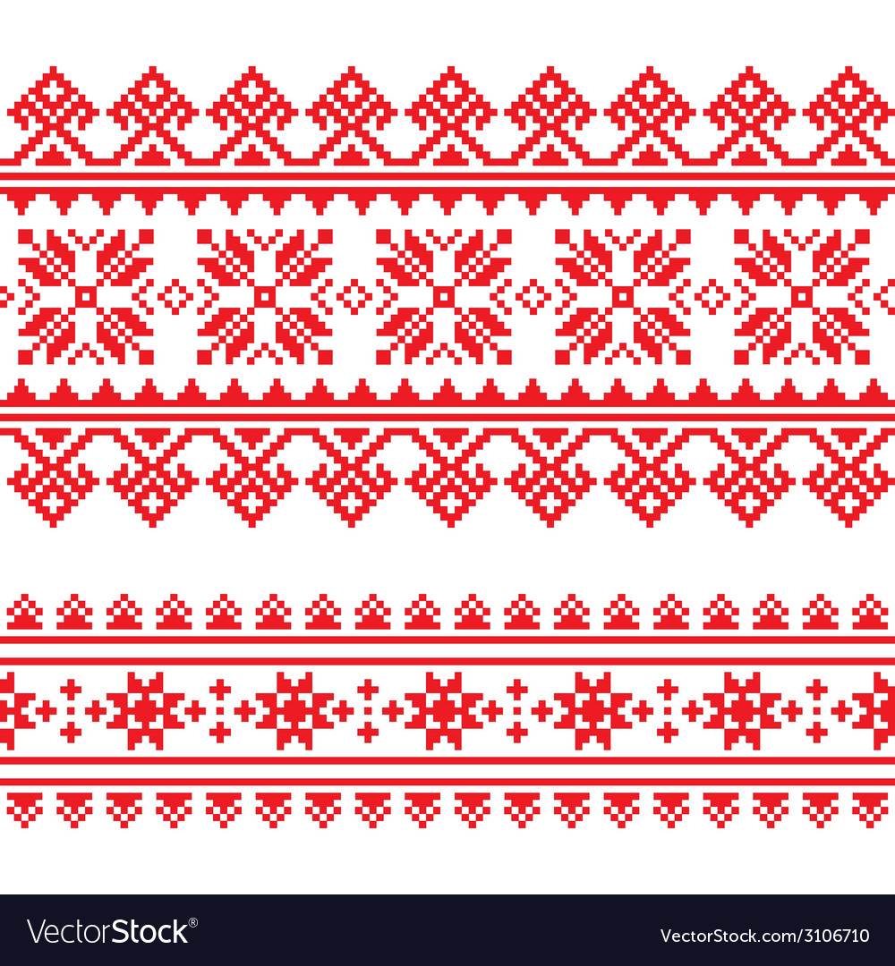 Traditional folk knitted red embroidery pattern vector